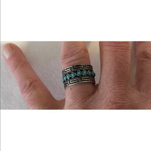 Jewelry - Southwest Sterling Silver Turquoise Cuff Ring Sz 6